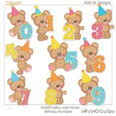 Marshmallow and Honey Birthday Numbers. Urso Bear, Crochet Applique Patterns Free, Birthday Clipart, Types Of Embroidery, Birthday Numbers, Animal Party, Party Animals, Animal Coloring Pages, Book Projects