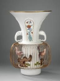 "Augustus Rex vase as a birdcage with two birds Model before 1727 (inspired by Japanese Arita ware) Former: George Fritzsche the Elder (1697–1756) Meissen, c. 1730/31 Decoration by Johann Gregorius Höroldt (1696–1775) Height: 53 cm, Diameter: 35 cm ""AR""-monogram in underglaze blue, inventory number of the Royal Porcelain Collection at the Japanese Palace in Dresden ""115-w"""