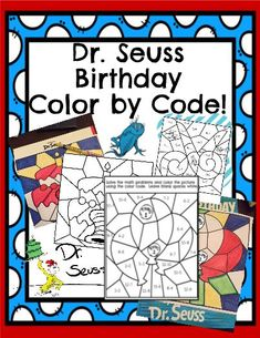 Dr Seuss Activities, Summer Activities, Dr Seuss Crafts, Kids Crafts, Sight Word Coloring, Dr Seuss Birthday, Happy Birthday, March Themes, Classroom Themes