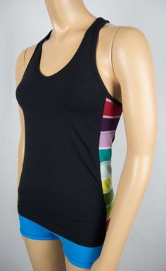 LULULEMON Tank Top 6 Black With Multi Color Square Accents Bra Support Yoga
