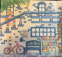 My Colorful Town by Chiaki Ida Left page: outside of library / bookstore. Completed adult coloring page done by colorist: Jax