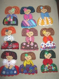 HICAIZE: Colección Meninas Wool Dolls, Felt Dolls, Crafts For Kids, Arts And Crafts, Flower Fairies, Clothes Crafts, Tole Painting, Animal Crafts, Doll Crafts