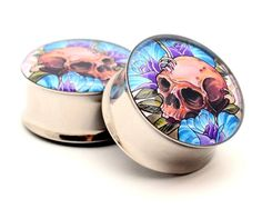 "Skull and Roses Picture Plugs Size: 5/8"" Option: Double Flared"