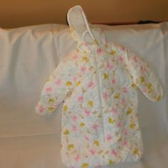 Vintage Lightweight Zippered, Quilted Baby Bunting Snowsuit, Baby Sac, Pink Teddybear, Baby Rattles, Yellow Baby Bunny Designs by theShoppingMollies on Etsy