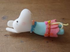 Miniature clay figure art doll sculpture Nelly looks like a moomin