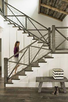 coastal california farmhouse; stair railing idea...could even use same concept for exterior railings.