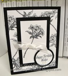 Here is an elegant black & white flowery card!  I used this stemmed flower stamp to make the background on my card front!  And then used t...