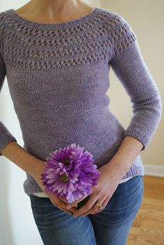 Ravelry: recipe of the month :: eyelet yoke sweater pattern by Courtney Spainhower - freeEyelet Yoke Sweater is designed for an experienced knitter.eyelet yoke sweater ferri 5 e 6 Ladies Cardigan Knitting Patterns, Knitting Patterns Free, Knit Patterns, Free Knitting, Free Pattern, Beginner Knitting, Hand Knitted Sweaters, How To Purl Knit, Sweater Design