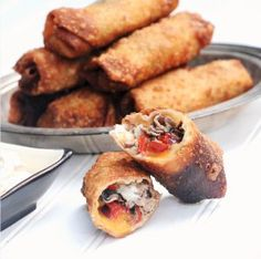 Make these Philly Cheese Steak Eggrolls for game day or your next party! Great appetizer #recipe.