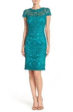 "Look at ""Petal Bloom"" color.          Tadashi Shoji Illusion Yoke Lace Sheath Dress (Regular & Petite) available at #Nordstrom"