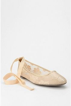Kimchi Blue Gypsy Lace Ankle-Tie Skimmer- I've thought the idea of wearing ballet slippers was amazing (you can feel like you're living part of the life of a dancer all day, every day), but if these actually have shoe-like bottoms, that makes them even better.