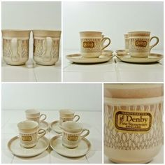 4 x Coffee Cups & Saucers - Denby Chantilly Demitasse Espresso Vintage FREE P&P