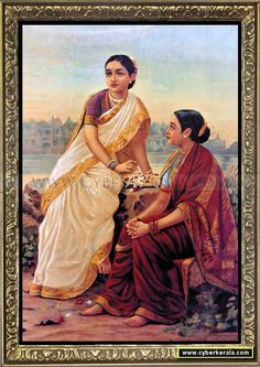 Radha and Sakhi waiting for Krishna - Oleograph by Raja Ravi Varma