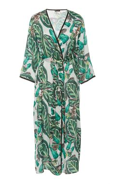 This Loborosa Amazonia Printed Robe features a long silhouette with a wrap around design. Product Details Wrapround silhouette Front pockets Unlined Composition: silk satin Color: green Ships with self-belt Imported