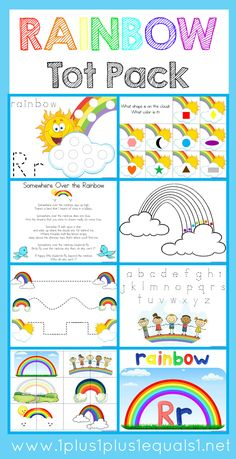 Rainbow Tot Pack Free Rainbow Printable Pack for Kids! Have fun exploring colors with this free set centered around rainbows. #1plus1plus1 #homeschool #homeschooling #freeprintablesforkids #kidsactivities #kidsprintables #earlychildhood #preschoolactivities #homeschoolpreschool #totschool