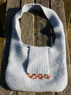 Felted Wool Purse Recycled Blue Sweater by BozzieBoyDesigns
