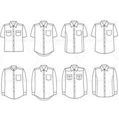 Men's Button Down Shirt Fashion Flat Template
