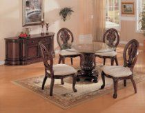 101030 Davina Round Dining Set-Create a setting filled with traditional warmth by welcoming this seven-piece rectangular dining table and oval back side chairs set into your home. Crafted from select hardwoods and cherry veneers, this formal dining s Round Dining Table Sets, Formal Dining Tables, Glass Dining Table, Dining Table In Kitchen, Dining Chairs, Side Chairs, Wooden Chairs, Dining Room Furniture Sets, Coaster Furniture