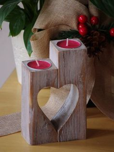 Wooden Candle holder vintage Heart candle by WoodMetamorphosisUK