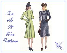 1930s Womens Dresses Front Gathered V by SewAsItWasPatterns