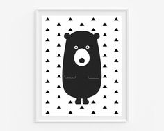 Bear giclee print Black and white wall art by cocoandmintstudio