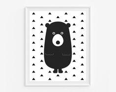 Bear giclee print- Black and white wall art wall art- Geometric room decor- Triangles pattern- Modern nursery artwork- (A-338)