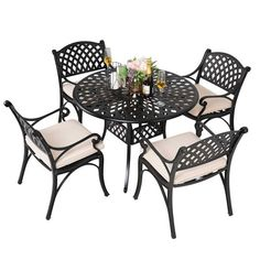 5pc Cast Aluminum Dining Set With Cream Cushions - Nuu Garden : Target Wicker Dining Set, Outdoor Dining Set, Patio Dining, Round Dining Table, Dining Sets, Cast Aluminium Garden Furniture, Garden Furniture Sets, Dining Furniture, Outdoor Furniture Sets