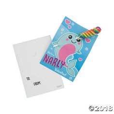 Give this to someone who makes for a narly valentine! Perfect for Valentine's Day exchanges, these cards come with a colorful sucker and a design . Diy Valentines Cards, Love Valentines, Johnny Valentine, Valentine's Cards For Kids, Under The Sea Party, Craft Night, Oriental Trading, Crafty Craft, Fun Activities
