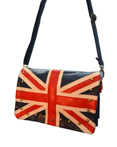 Oasap The Union Jack Print Stud Embellished Shoulder Bag