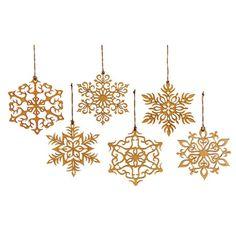 Baltic birch, laser-cut snowflakes.  PRETTY!