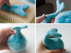 Making a whale tail on a rattle for babies with felted wool
