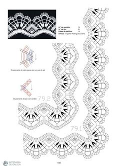 Puntilla 79 Bobbin Lace Patterns, Embroidery Patterns, Sewing Patterns, Hairpin Lace Crochet, Crochet Borders, Crochet Stitches, Bruges Lace, Romanian Lace, Bobbin Lacemaking