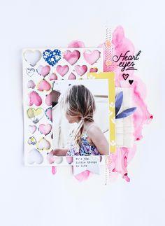 """Steffi Ried Layout """"Heart Eyes"""" #scrapbookwerkstatt #pinkfreshstudio #americancrafts"""
