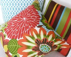 Bright Bold Floral Pillows Lumbar Accent by PillowThrowDecor