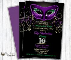This is a custom masquerade or mardi gras party invitation in traditional Mardi Gras colors - purple, green and gold with a black background