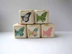 Butterfly blocks. Wooden toy. Girly nursery decor. Modern. Trendy decoration. Pastels.Baby shower Gift under 30. $20.00, via Etsy.