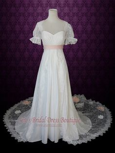 1920s Regency Style Empire Lace Wedding Dress with Sleeves Pink Sash and Peach Blush Flowers | Antje