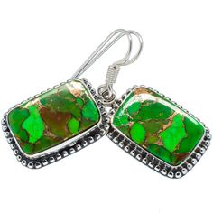 "Green Copper Composite Turquoise 925 Sterling Silver Earrings 1 1/2"" EARR323783"