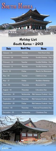 South Korea Holiday List 2013 #South #Korea #Holiday #List #2013 #Interesting #Infographics