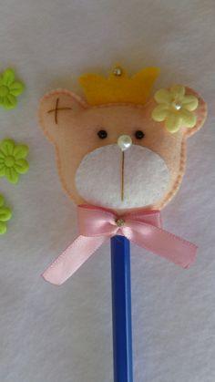 Linda ponteira de lápis ursinho. 6 cm de comprimento a cabeça do ursinho.