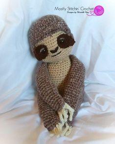 Sammy the Sloth CROCHET PATTERN PDF Crochet Sloth, Crochet Toys, Crochet Baby, Crochet Ideas, Crochet Patterns, Baby Sloth, Sloths, Headband Hairstyles, Mittens