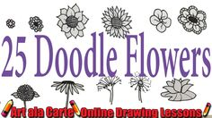 Draw Flower Patterns How to draw 25 doodle Flowers - Simple Flower Drawing, Sunflower Drawing, Flower Art, Drawing Flowers, Tattoo Flowers, Basic Drawing, Ink Pen Drawings, Doodle Drawings, Easy Drawings