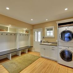 Laundry room and mudroom combined. Love this!