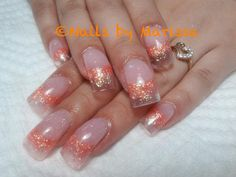 Golden peachy Acrylic nails with clear tips