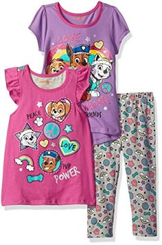 Nickelodeon Girls' 3 Piece Paw Patrol Knit Tops and Legging Set Elastic all around the waist Great outfit Super cute Your kid will love this Nickelodeon Girls, Girls Dress Up, Knit Tops, Tops For Leggings, Paw Patrol, Outfit Sets, 3 Piece, Girl Outfits, Super Cute