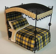 New 12th scale Wire Canopy Dressed Miniature Bed Dolls House Cornish Tartan