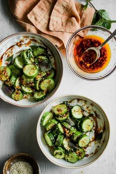Cucumber-Sesame Salad with Garlicky Chili Oil - all about food - Salat Vegetarian Recipes, Cooking Recipes, Healthy Recipes, Cooking Steak, Cooking Games, Cooking Beets, Cooking Ribs, Yogurt Recipes, Lunch Recipes