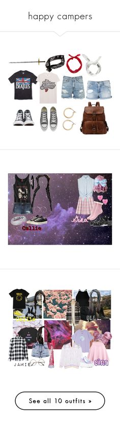 """happy campers"" by thewhoreofcookies ❤ liked on Polyvore featuring Boohoo, New World Sales, MadeWorn, R13, Armani Jeans, Converse, Nordstrom, Hollister Co., Topshop and Hippie Rose"