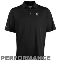 Antigua New York Yankees Exceed Performance Polo - Black