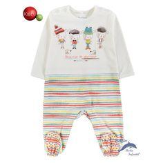37b38fea4 Pijama pelele unisex de bebe BOBOLI Newborn de algodón con animales y rayas